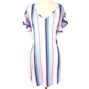 LAURA ASHLEY Striped Pink Blue Flowy Cozy Dress